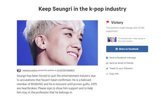 Hơn 12.000 người kí tên ủng hộ Seungri: Bảo vệ thần tượng hay tình yêu mù quáng?